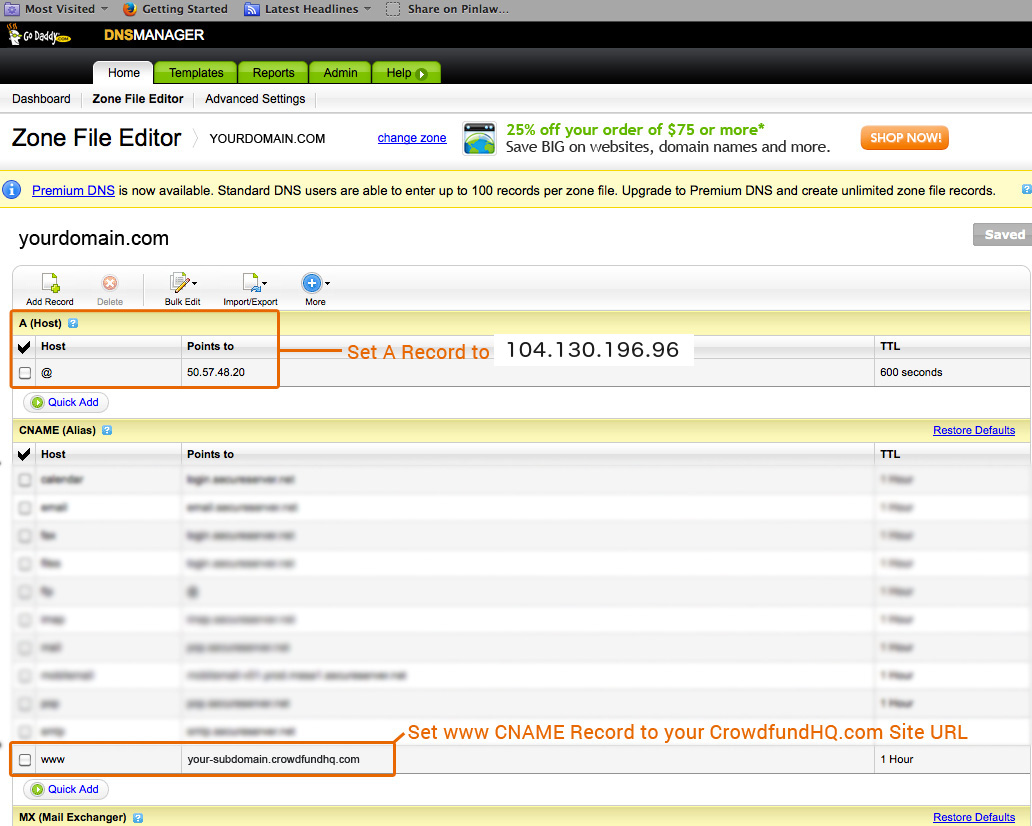 Example instructions for GoDaddy CrowdfundHQ DNS changes