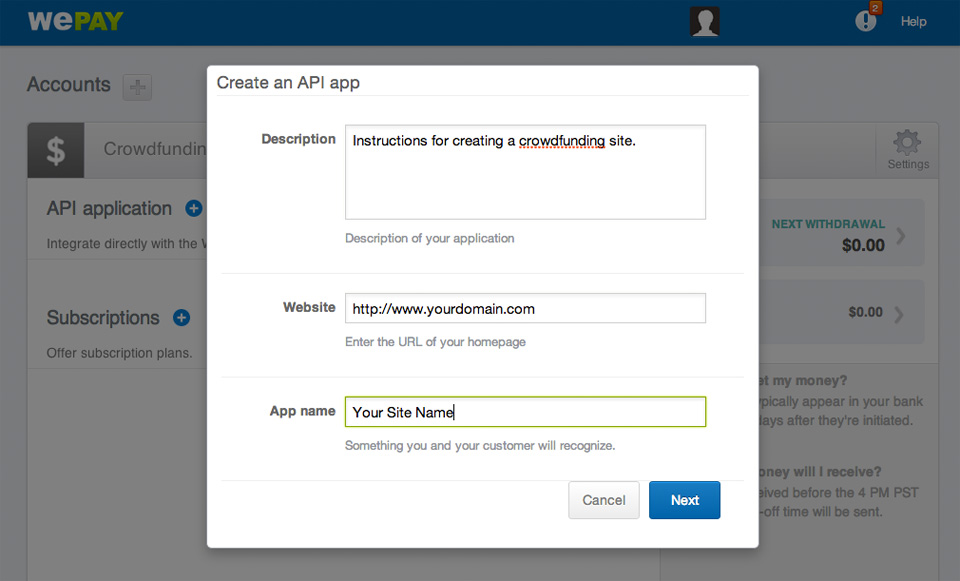 WePay Existing Account API App Form