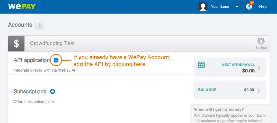WePay Existing Account